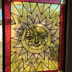 Mr Sun stained glass with chain hanger window art